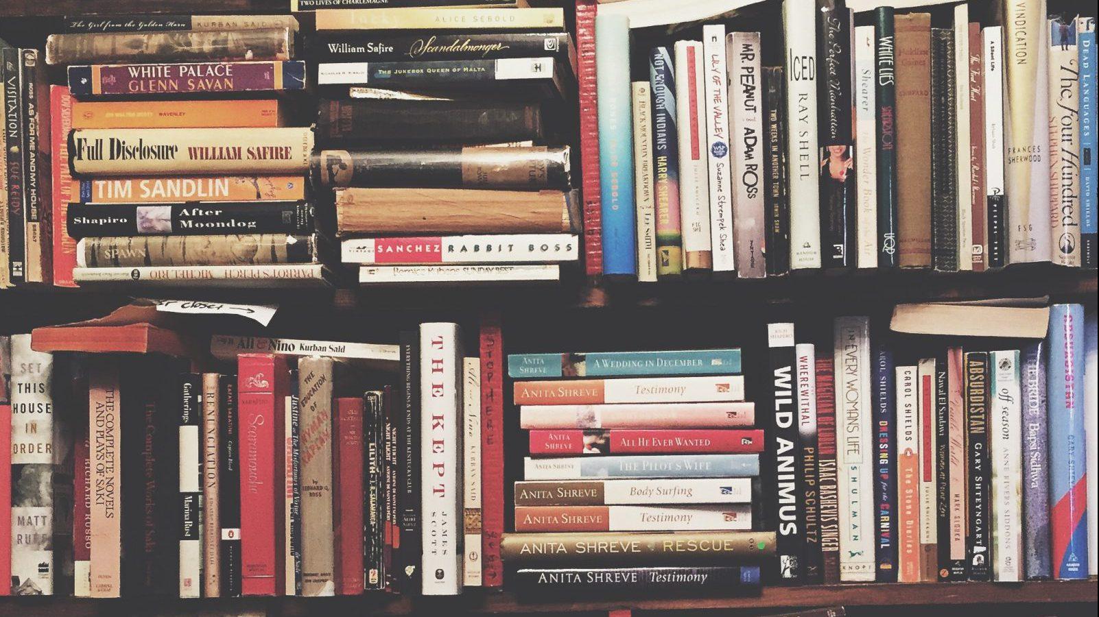 stacks of books on bookshelf