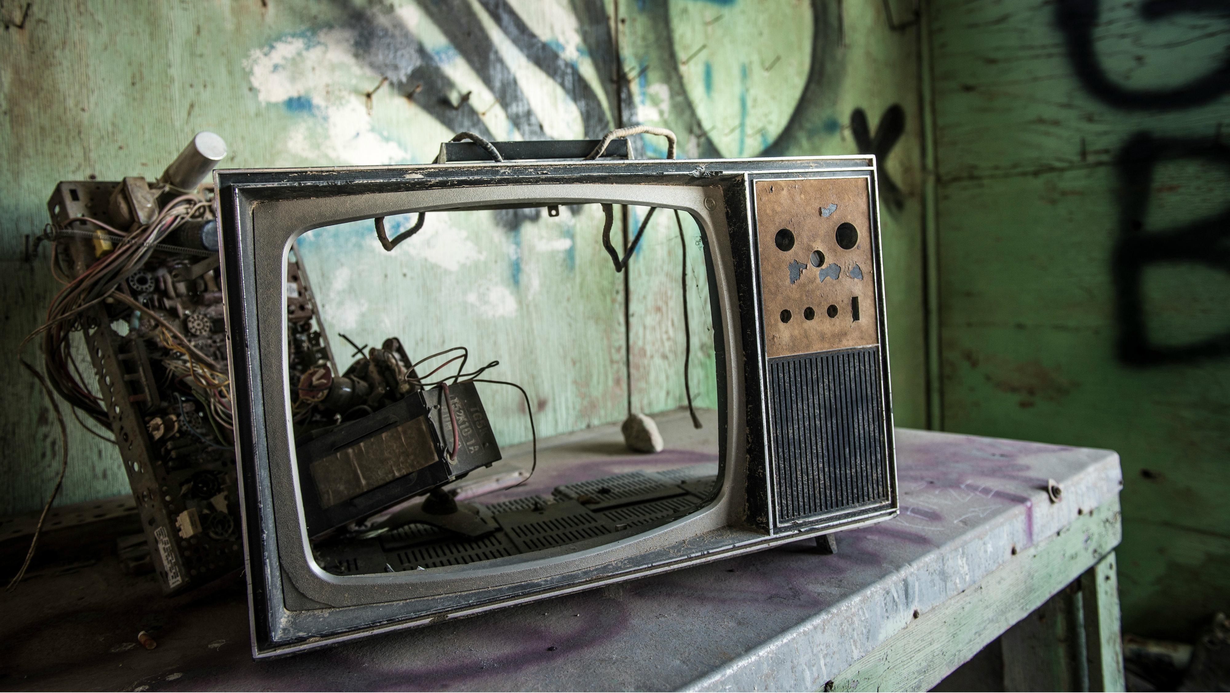 An old, broken TV.