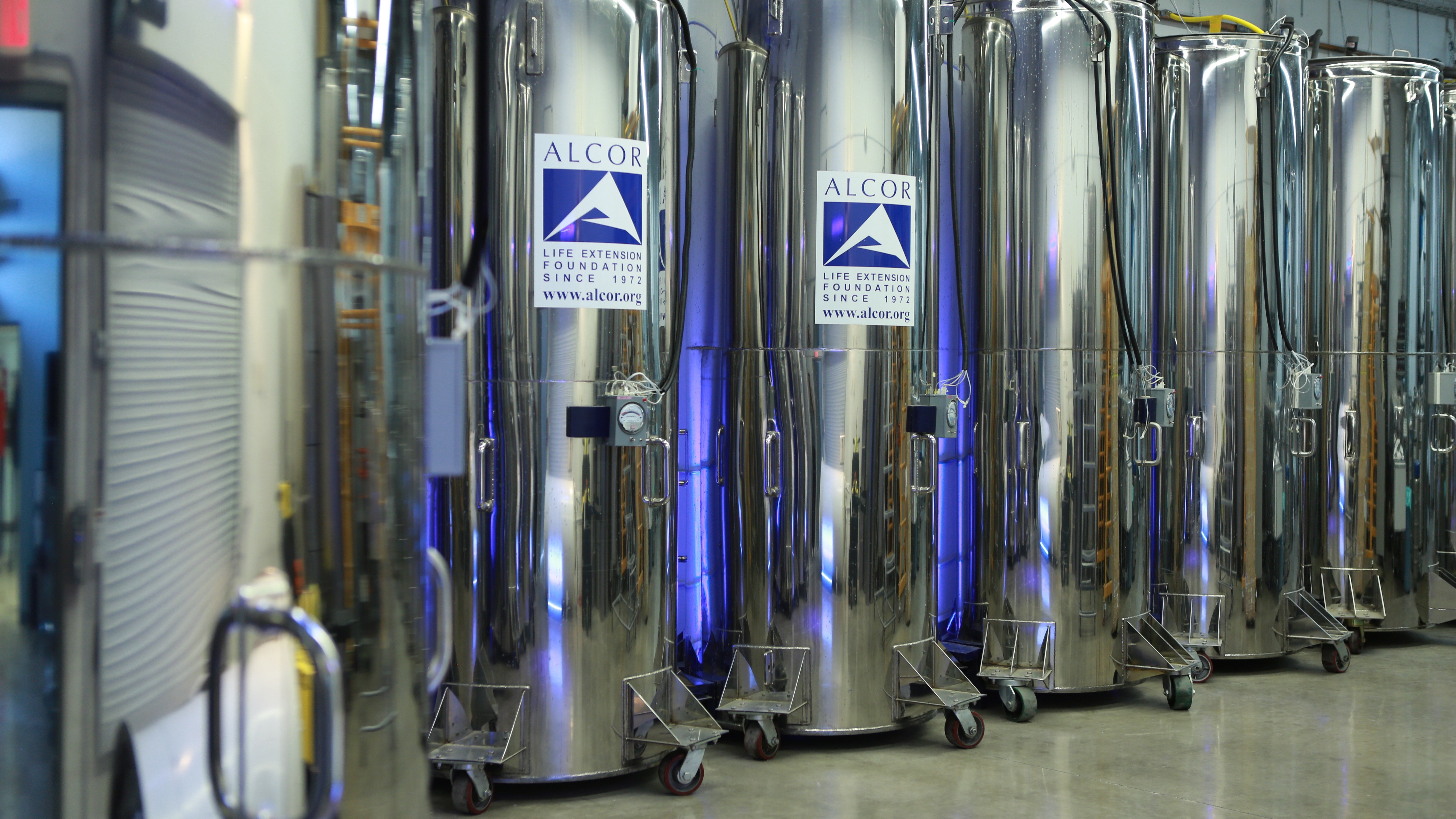 Liquid nitrogen storage tanks at Alcor Life Extension Foundation in Scottsdale, Ariz, housing the remains of James Bedford and other patients who have chosen to be cryonically preserved.