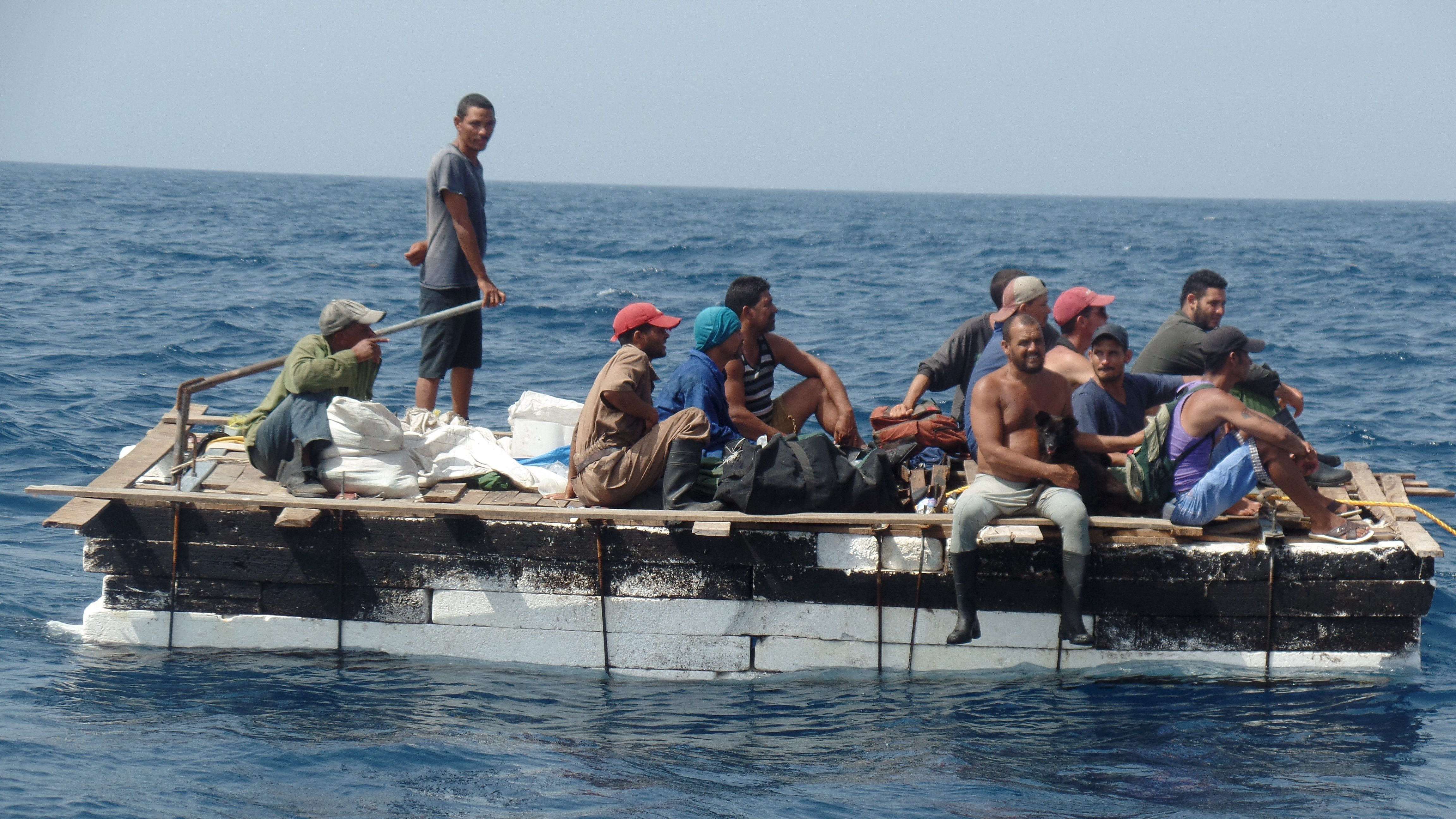 Cuban migrants are seen on a raft