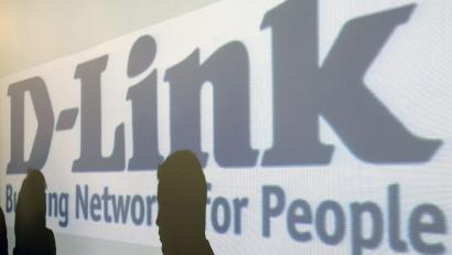 Shadows are cast on the D-link logo in the company's headquarters in Taipei