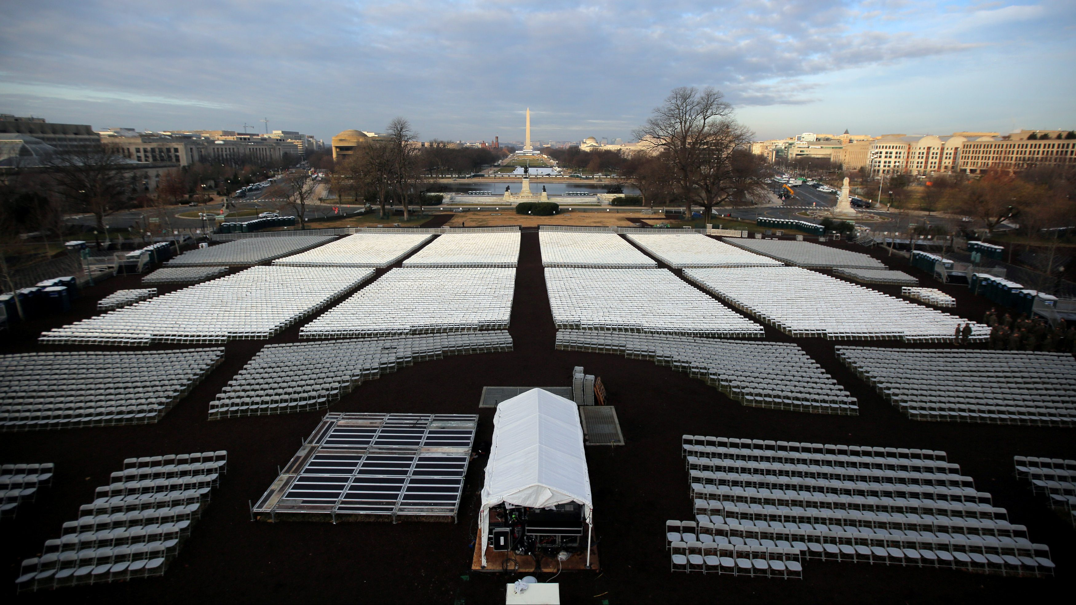 Empty seats are seen at the National Mall during a rehearsal for the inauguration ceremony of U.S. President-elect Donald Trump in Washington, U.S., January 15, 2017.