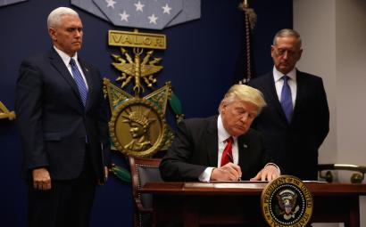 US president Donald Trump signs an executive order barring immigration from seven Muslim-majority countries.
