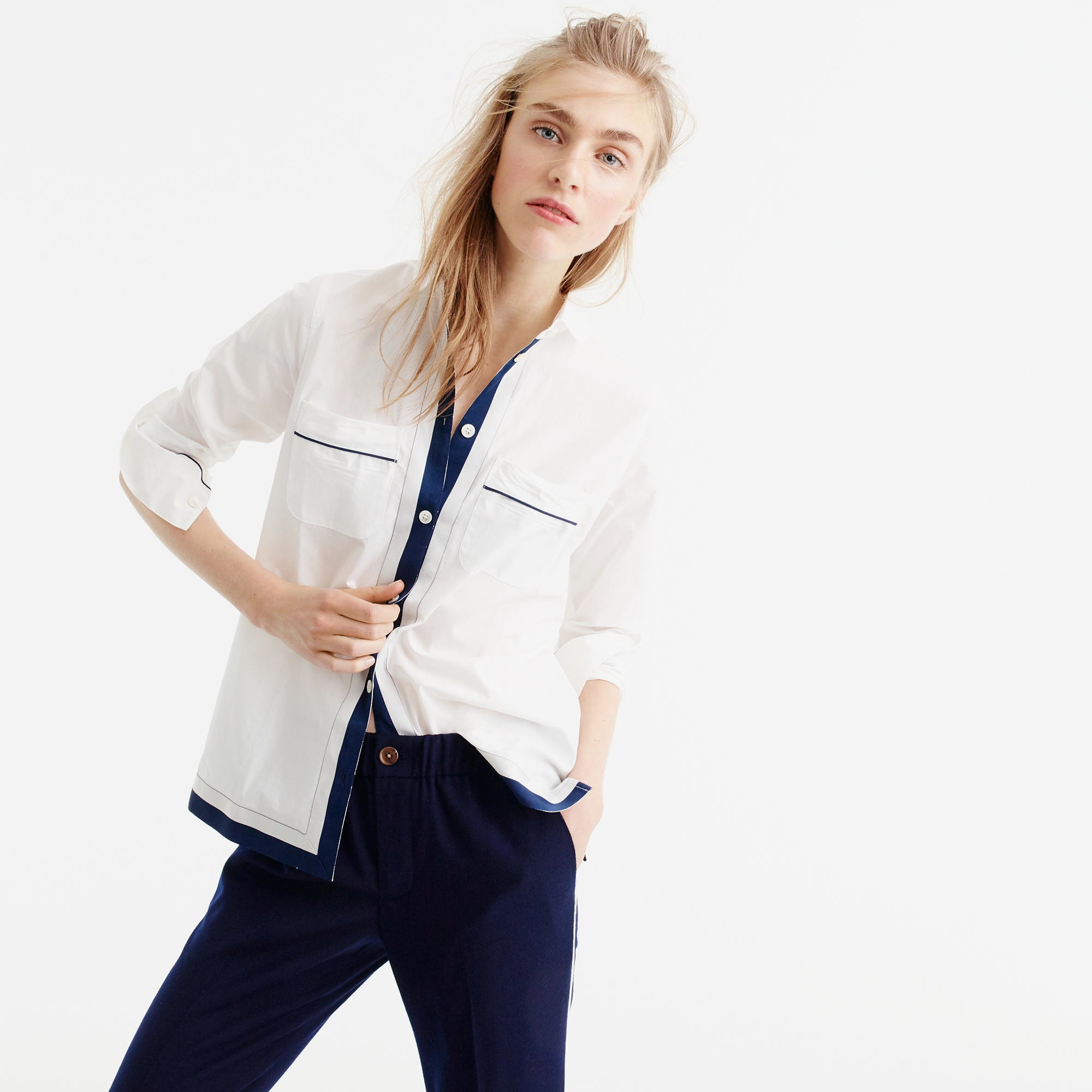 J.Crew cotton pajama top with grosgrain piping