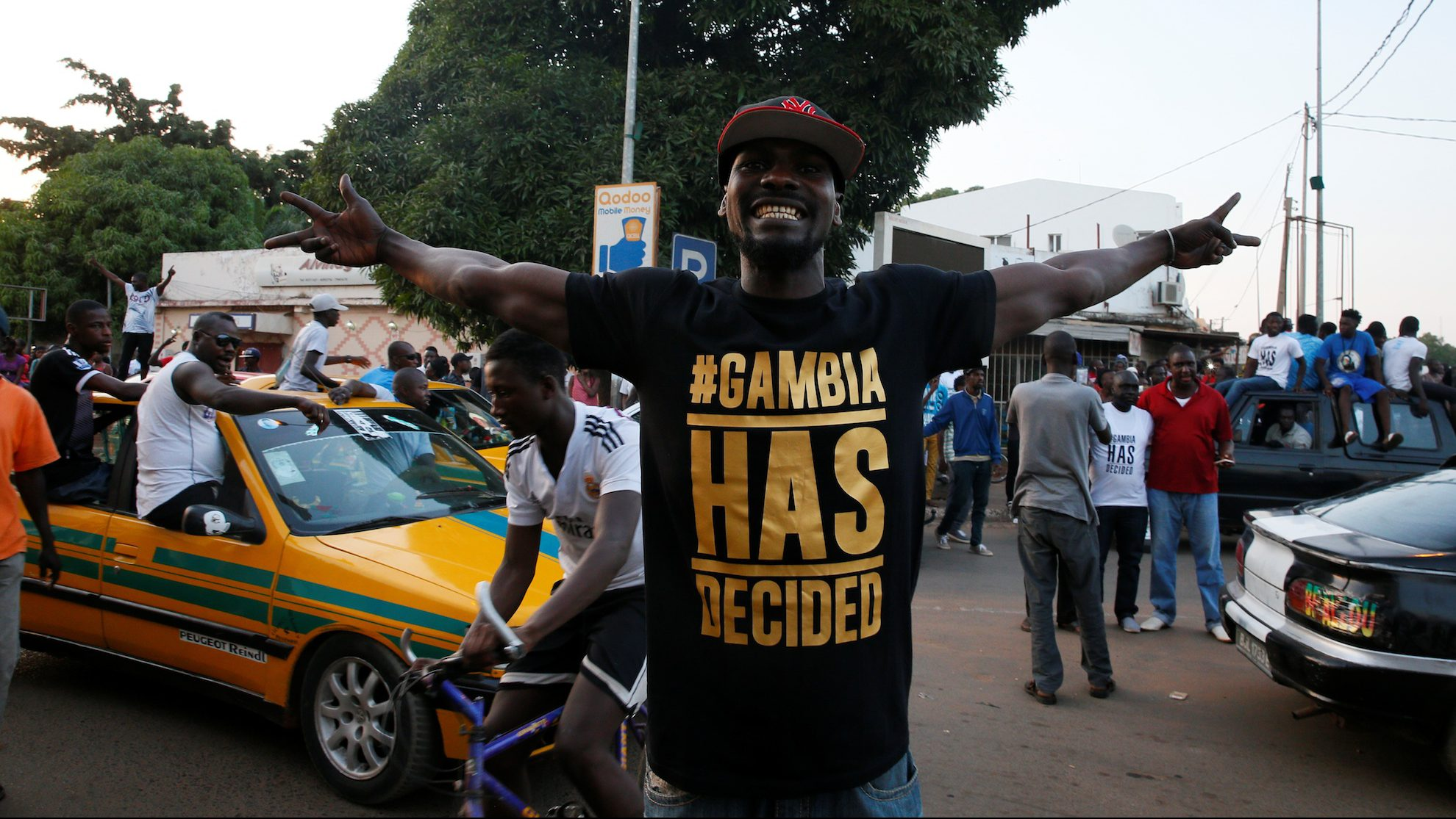 Gambians take to the street in jubilations as Adama Barrow is sworn-in as President of Gambia in Banjul