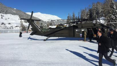 A US Army Blackhawk helicopter sits in Davos during the World Economic Forum