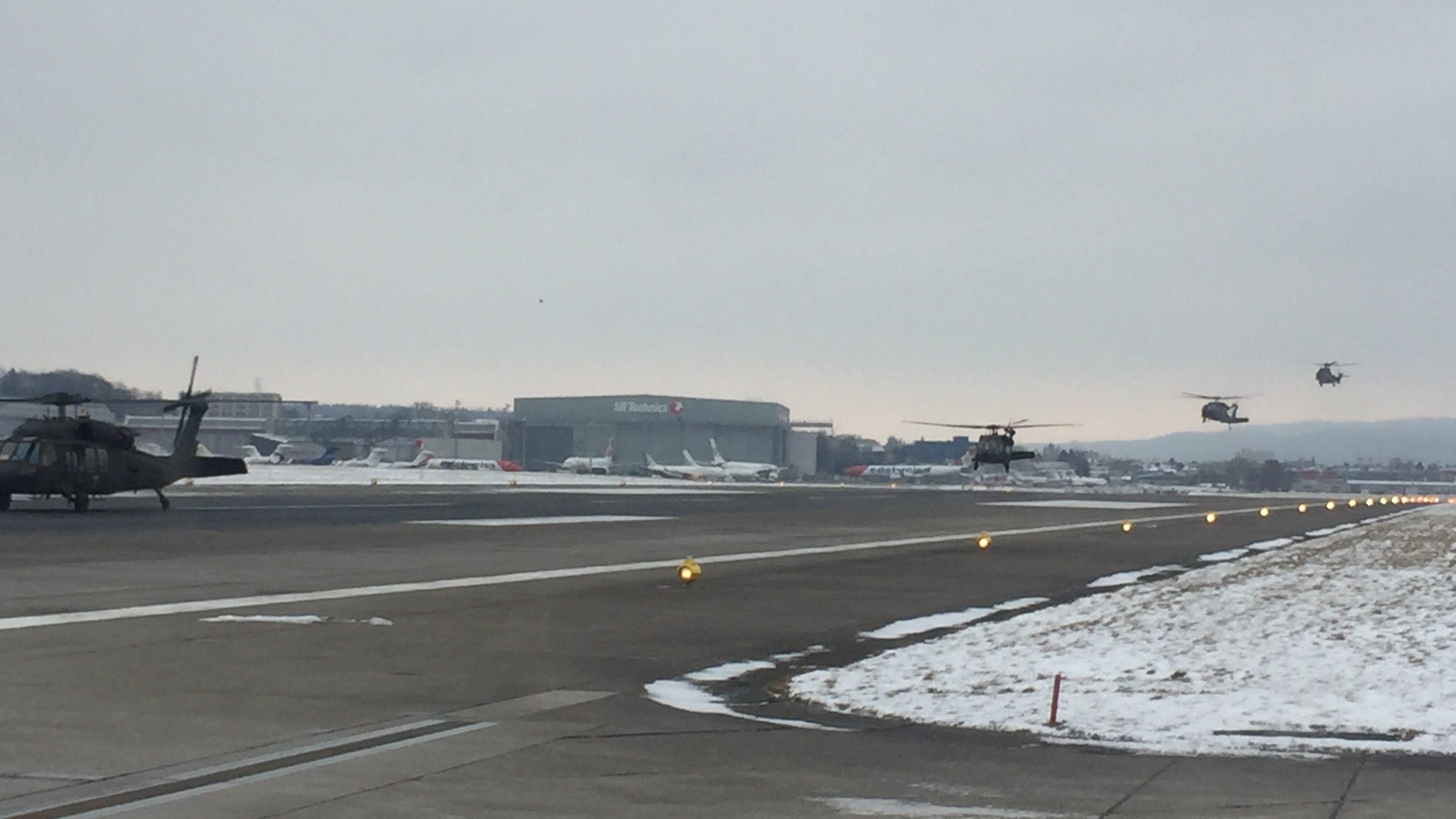 Joe Biden's escort landing in Zurich