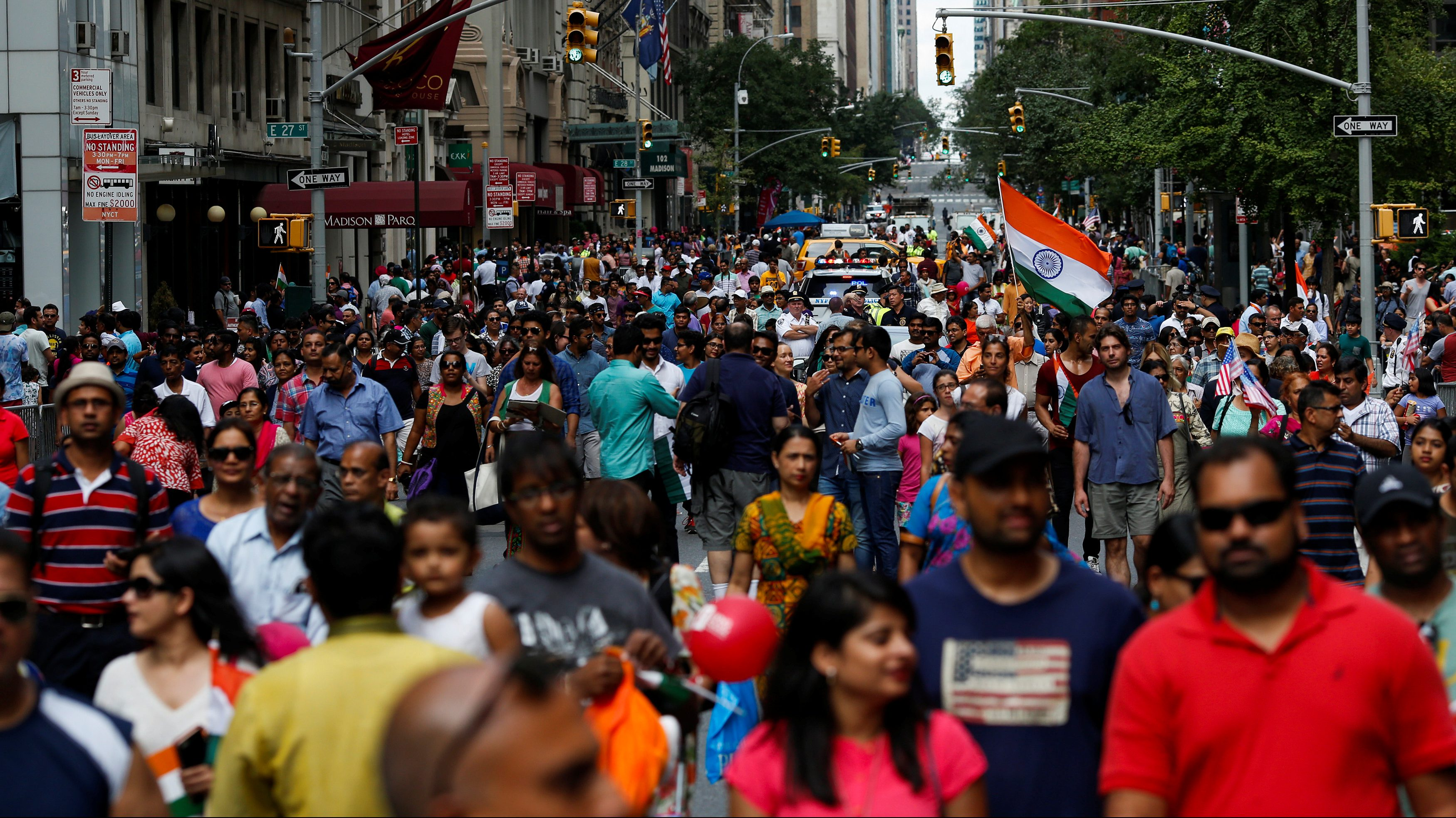 People take part in the annual India Day Parade in Manhattan, New York, U.S., August 21, 2016.