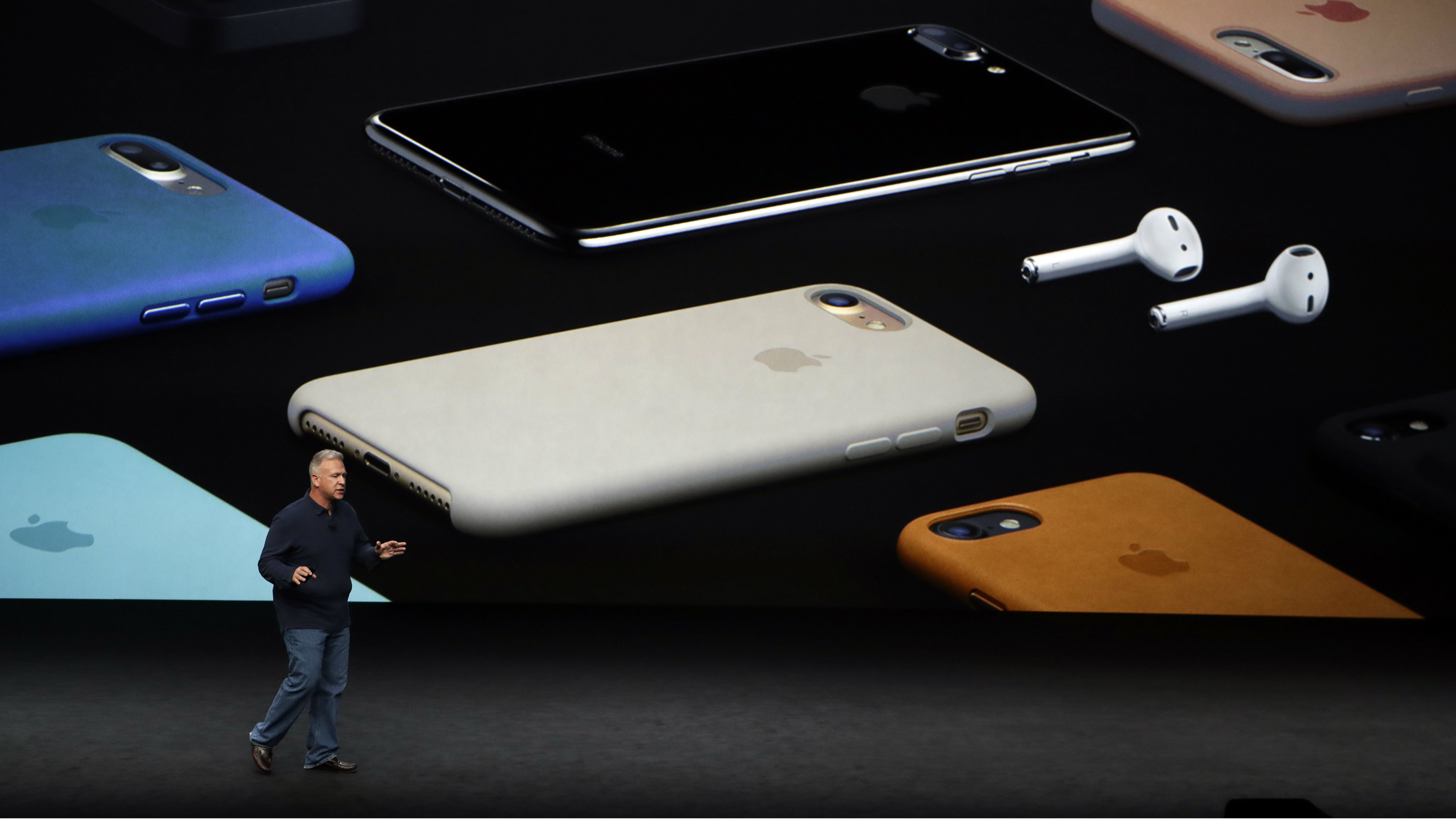 In this Sept. 7, 2016, file photo, Phil Schiller, Apple's senior vice president of worldwide marketing, talks about the pricing on the new iPhone 7 during an event to announce new products, in San Francisco. The new iPhones are better, even when considering that the most dramatic change is what got taken away: the traditional headphone jack.