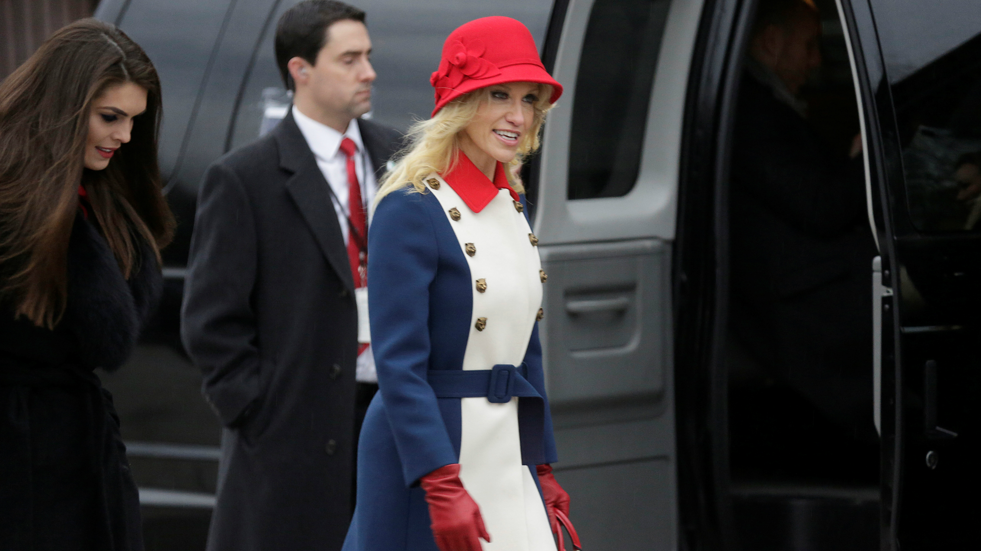 Kellyanne conway wore a 3600 red white and blue gucci coat to kellyanne conway said her red white and blue gucci coat was trump revolutionary wear ombrellifo Image collections