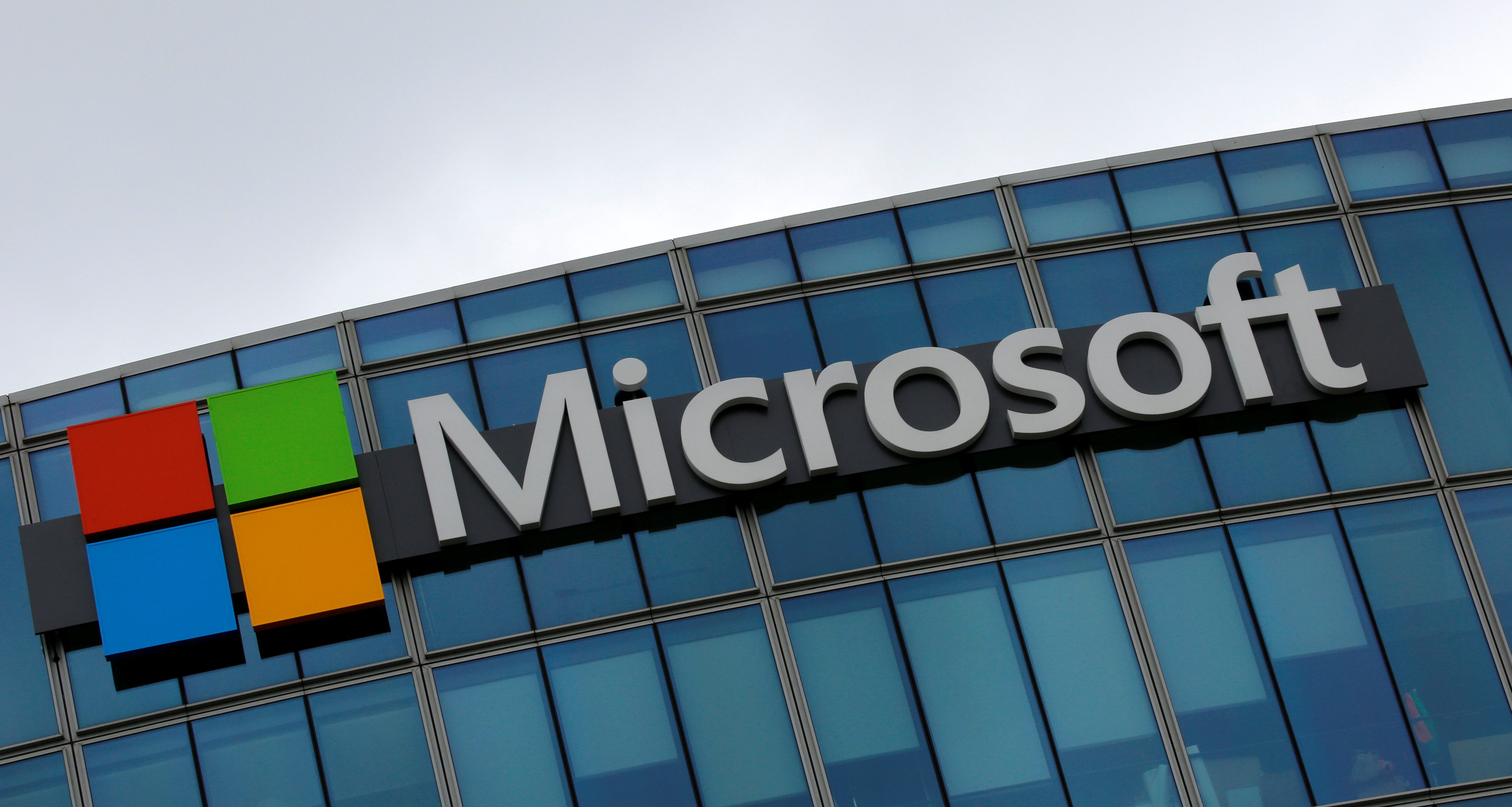 he logo of Microsoft is pictured in Issy-les-Moulineaux, France, August 8, 2016.