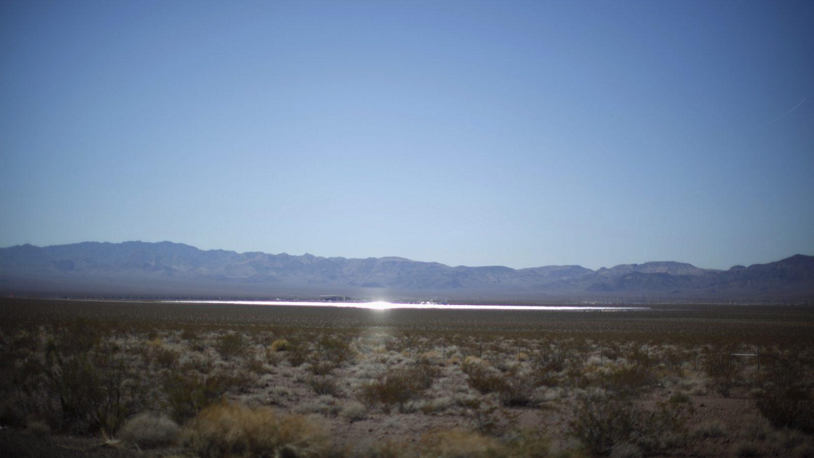 Sunlight catches a solar array in Nevada.