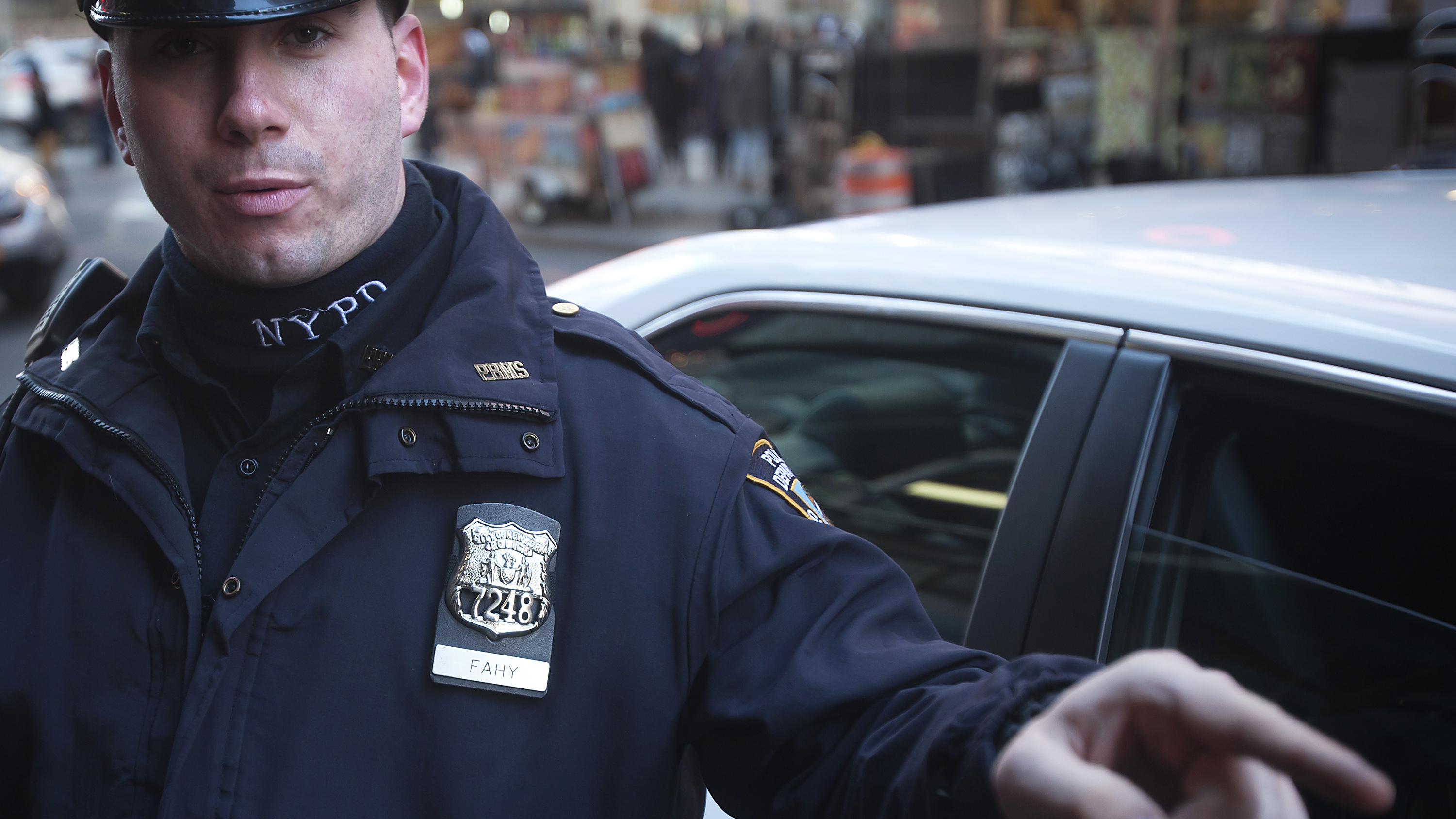 Police officer issues traffic ticket