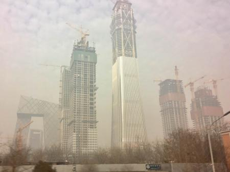 Beijing CBD at 2:30 pm on Jan.4,2017.