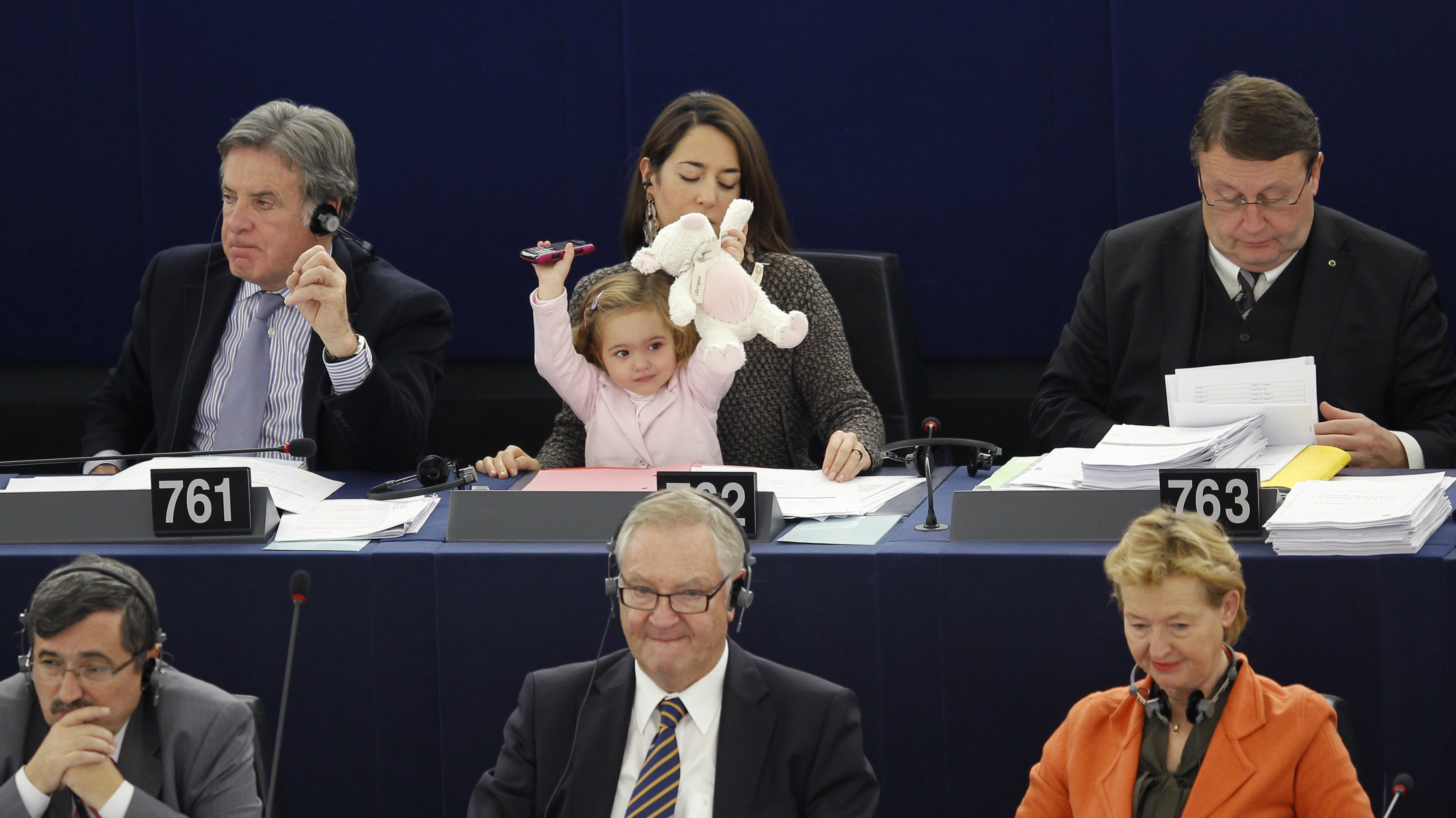 Member of the European Parliament Ronzulli of Italy takes part with her daughter Vittoria in a voting...