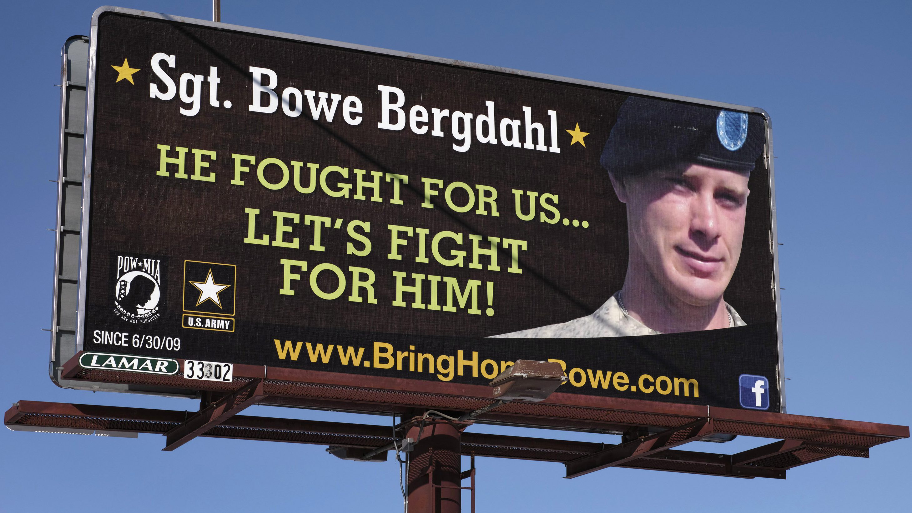 A billboard calling for the release of U.S. Army Sergeant Bowe Bergdahl, held for nearly five years by the Taliban after being captured in Afghanistan, is shown in this picture taken near Spokane, Washington on February 25, 2014. Bergdahl has been released and is now in U.S. custody, President Barack Obama said on May 31, 2014. Picture taken on February 25, 2014.  REUTERS/Jeff T. Green (UNITED STATES - Tags: MILITARY POLITICS CIVIL UNREST CONFLICT TPX IMAGES OF THE DAY) - RTR3RN1O