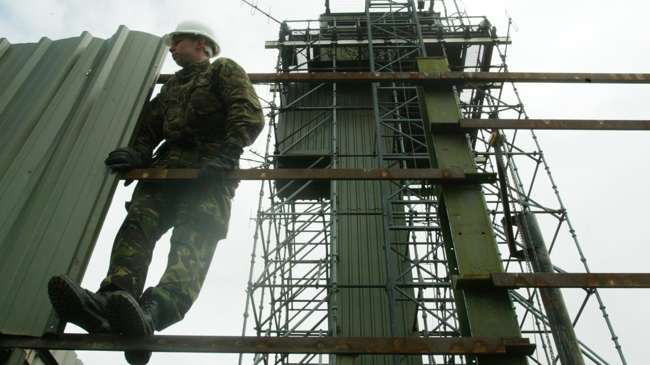 A British army sapper carries out demolition work at the border.