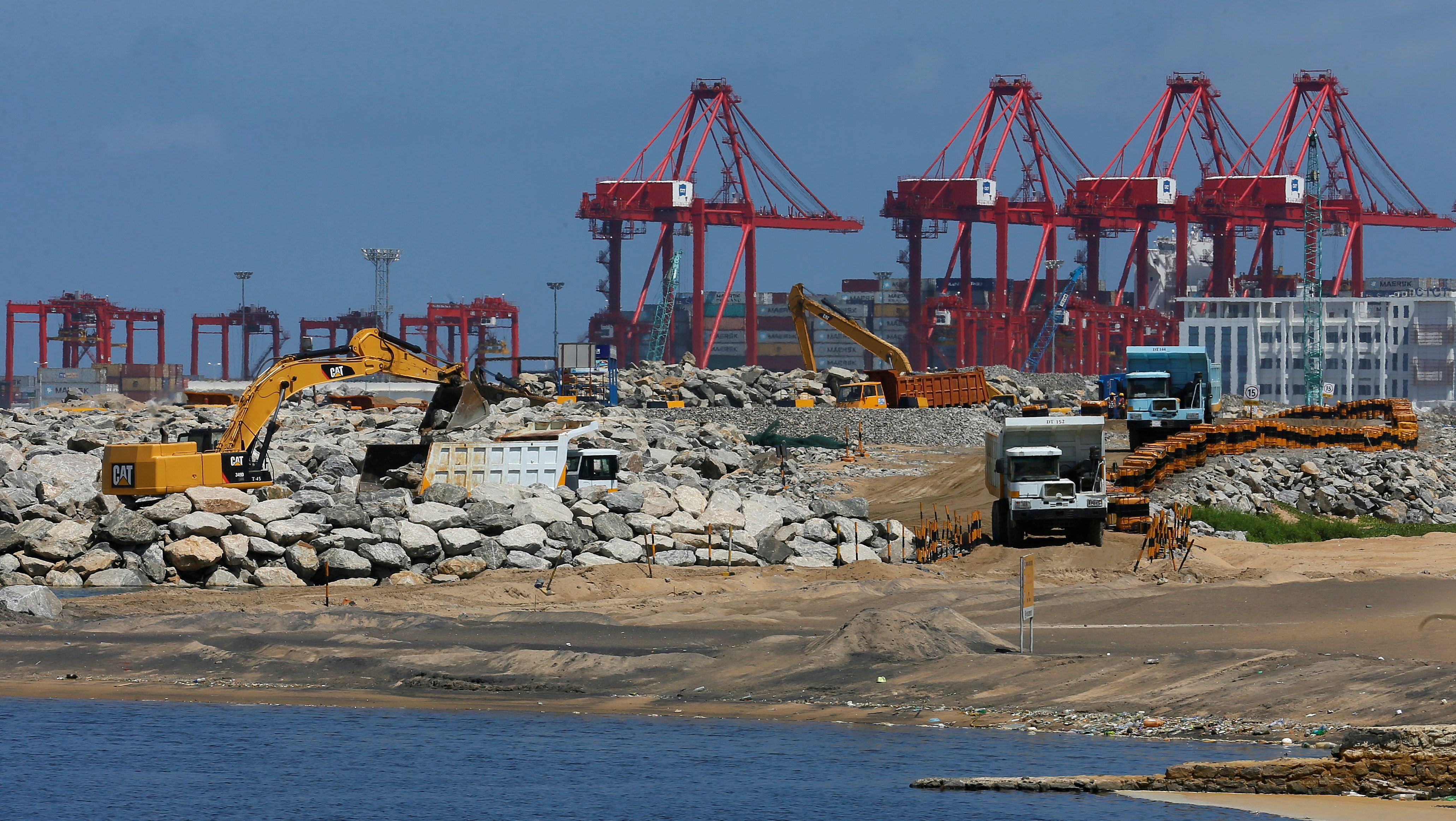 A general view of a Colombo Port City construction site is seen at the Colombo South Harbor in Sri Lanka October 4, 2016.