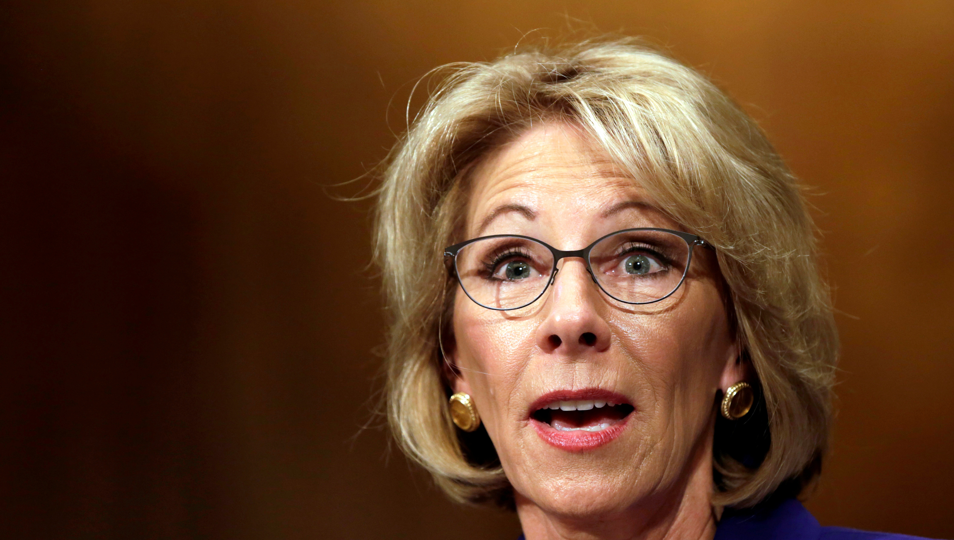 Betsy DeVos testifies before the Senate Health, Education and Labor Committee confirmation hearing to be next Secretary of Education on Capitol Hill in Washington, U.S., January 17, 2017. REUTERS/Yuri Gripas - RTSVZFU