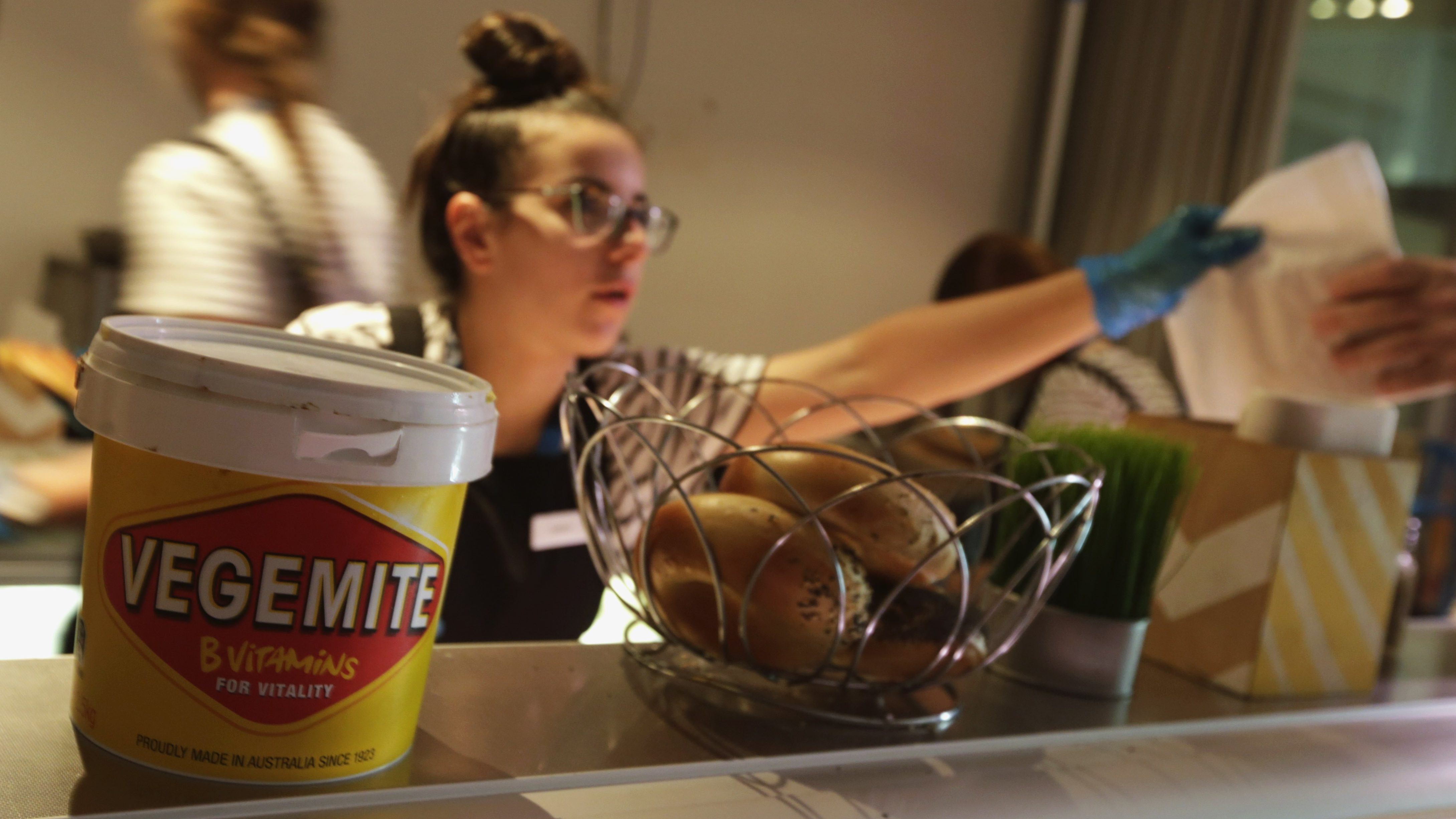 A tub of Vegemite is seen at a local cafeteria in Melbourne, Australia