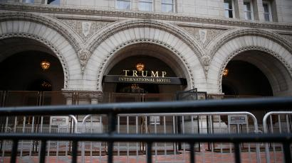 Security fences are seen outside the Trump International Hotel in Washington