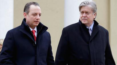 Advisor to President-elect Donald Trump Steve Bannon (R) and incoming White House Chief of Staff Reince Priebus