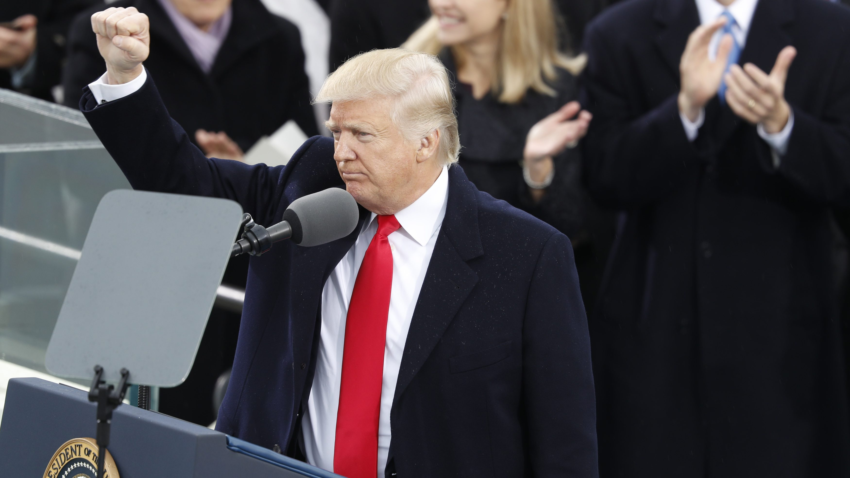 U.S. President Donald Trump gestures as he speaks after being sworn in as the 45th president of the United States on the West front of the U.S. Capitol in Washington, U.S., January 20, 2017.  REUTERS/Lucy Nicholson - RTSWKBQ