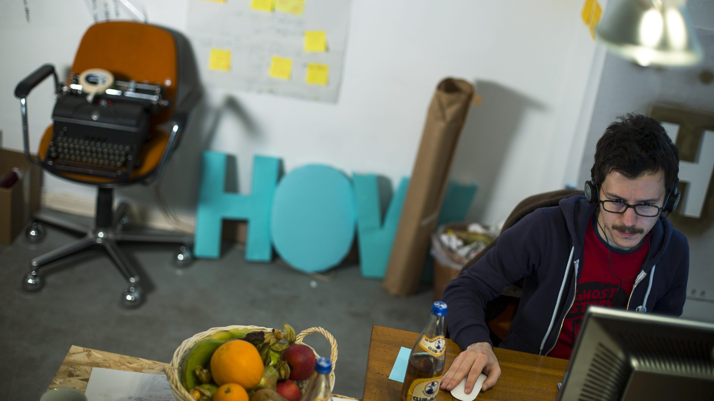 """Alessandro Contini of Italy works in the office of the HowDo, a """"how-to-do-it-yourself"""" app,start-up company at the Wostel co-working space in Berlin March 18, 2013. Europe must urgently tackle youth unemployment, the French, German and Italian governments said May 28, 2013, urging action to rescue an entire generation who fear they will not find jobs. Some 7.5 million Europeans aged 15-24 are neither in employment nor in education or training, according to EU data. Youth unemployment in the EU stood at 23.6 percent in January, more than twice as high as the adult rate."""