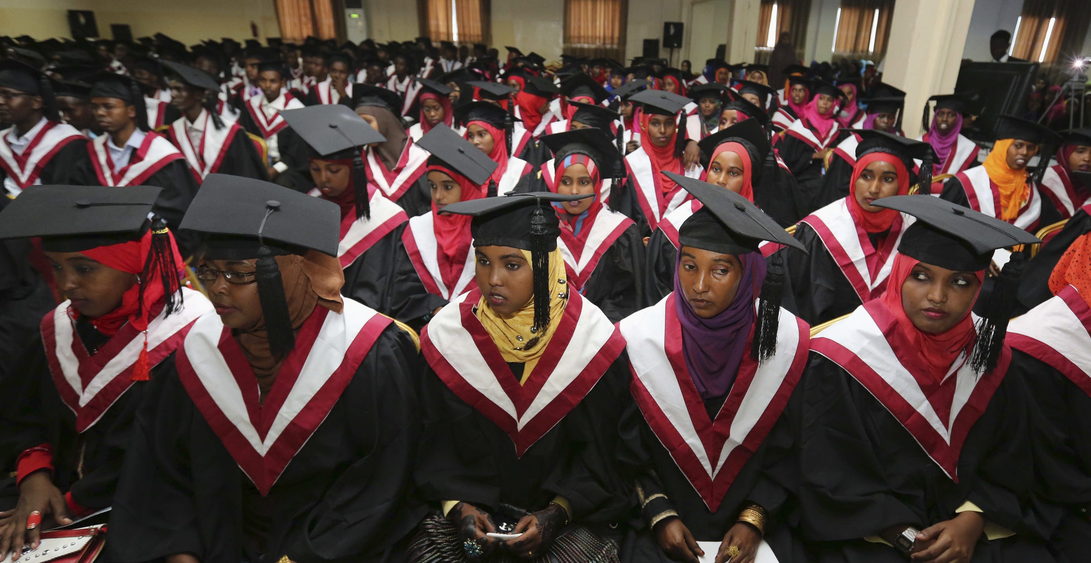 A section of 740 graduating students from Simad University, look on during their graduation ceremony, in the capital Mogadishu, November 28, 2013. The number of graduates today is the highest since the collapse of the Somalia military regime in 1991, according to school officials.