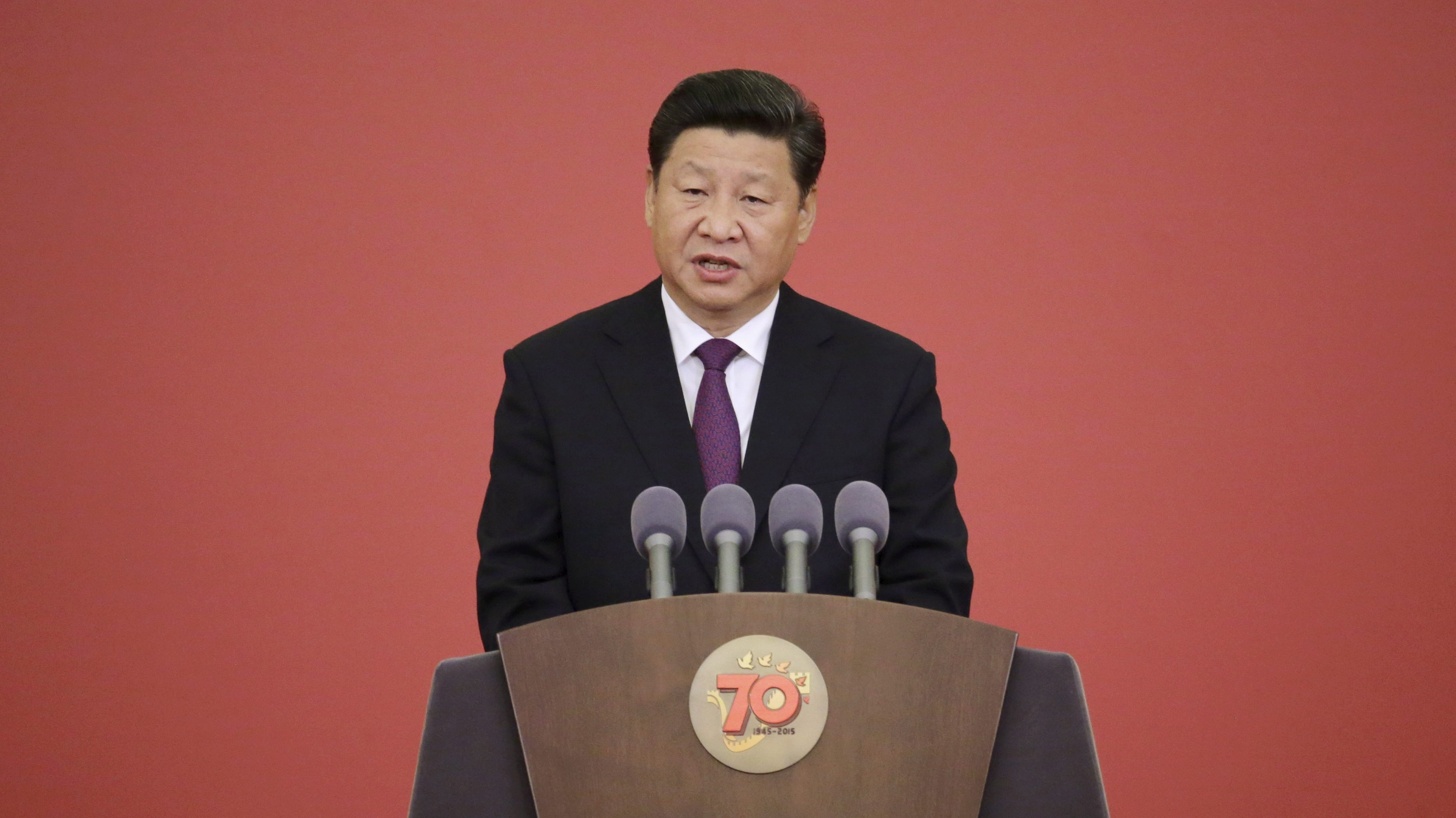 Chinese President Xi Jinping delivers a speech at a ceremony to present commemorative medals of the 70th anniversary of the Victory of Chinese People's War of Resistance Against Japanese Aggression, to World War Two veterans at the Great Hall of the People in Beijing, China, September 2, 2015. A total of 30 veterans, including Chinese soldiers, military officials and foreign friends (or their relatives) who made a contribution to Chinese victory, were awarded medals by the Chinese president on Wednesday, Xinhua News Agency reported.