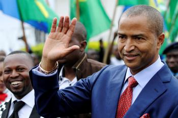 Moise Katumbi, governor of Democratic Republic of Congo's mineral-rich Katanga province, arrives for a two-day mineral conference in Goma, Democratic Republic of Congo March 24, 2014.