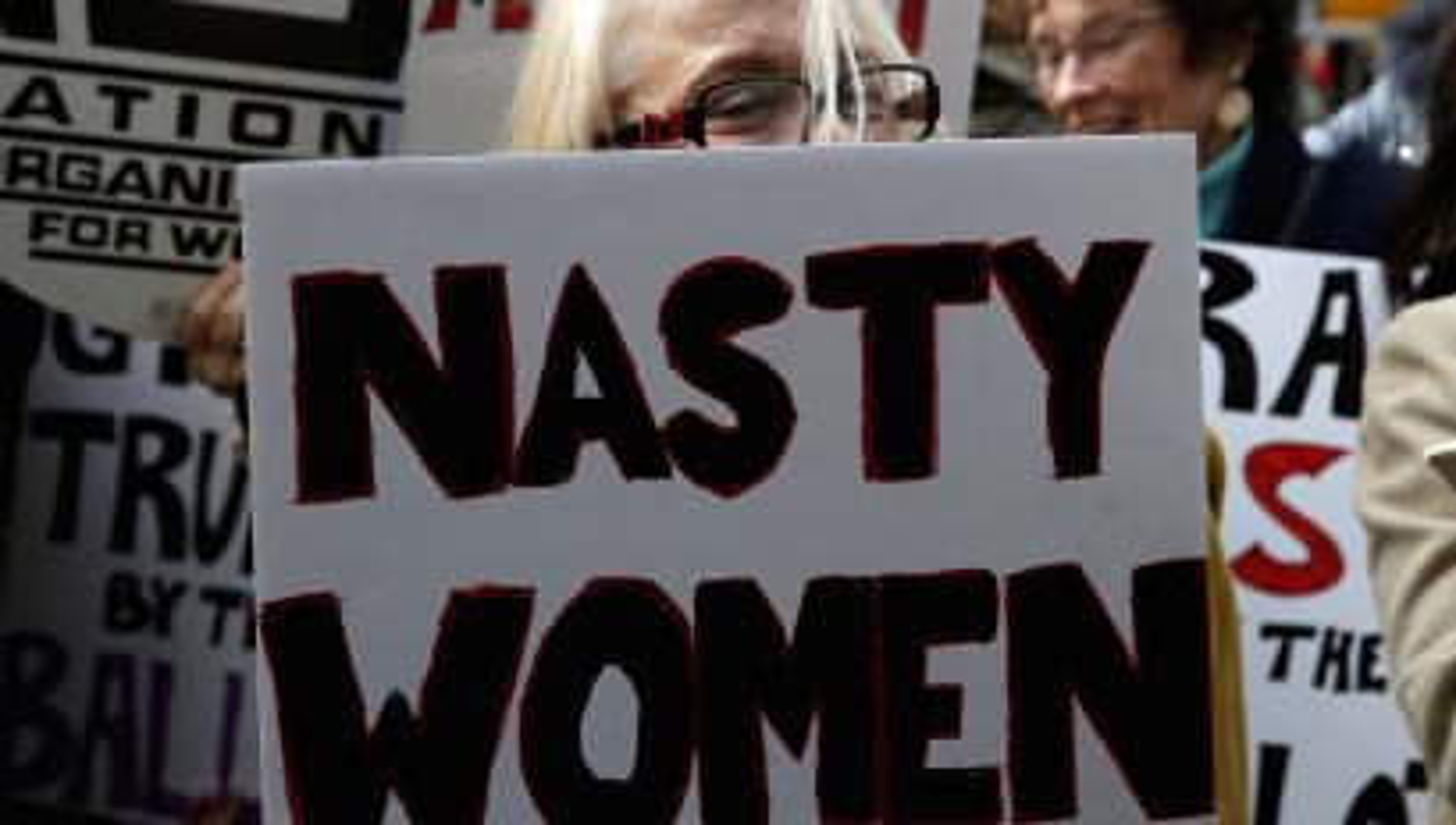 Women protest against Republican U.S. presidential nominee Donald Trump