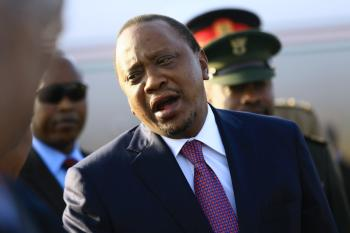 Kenya's President Uhuru Kenyatta arrives at Khartoum Airport, Sudan, October 29, 2016.