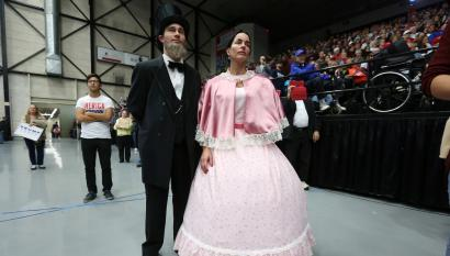Trump supporters dressed as Lincoln and his wife.