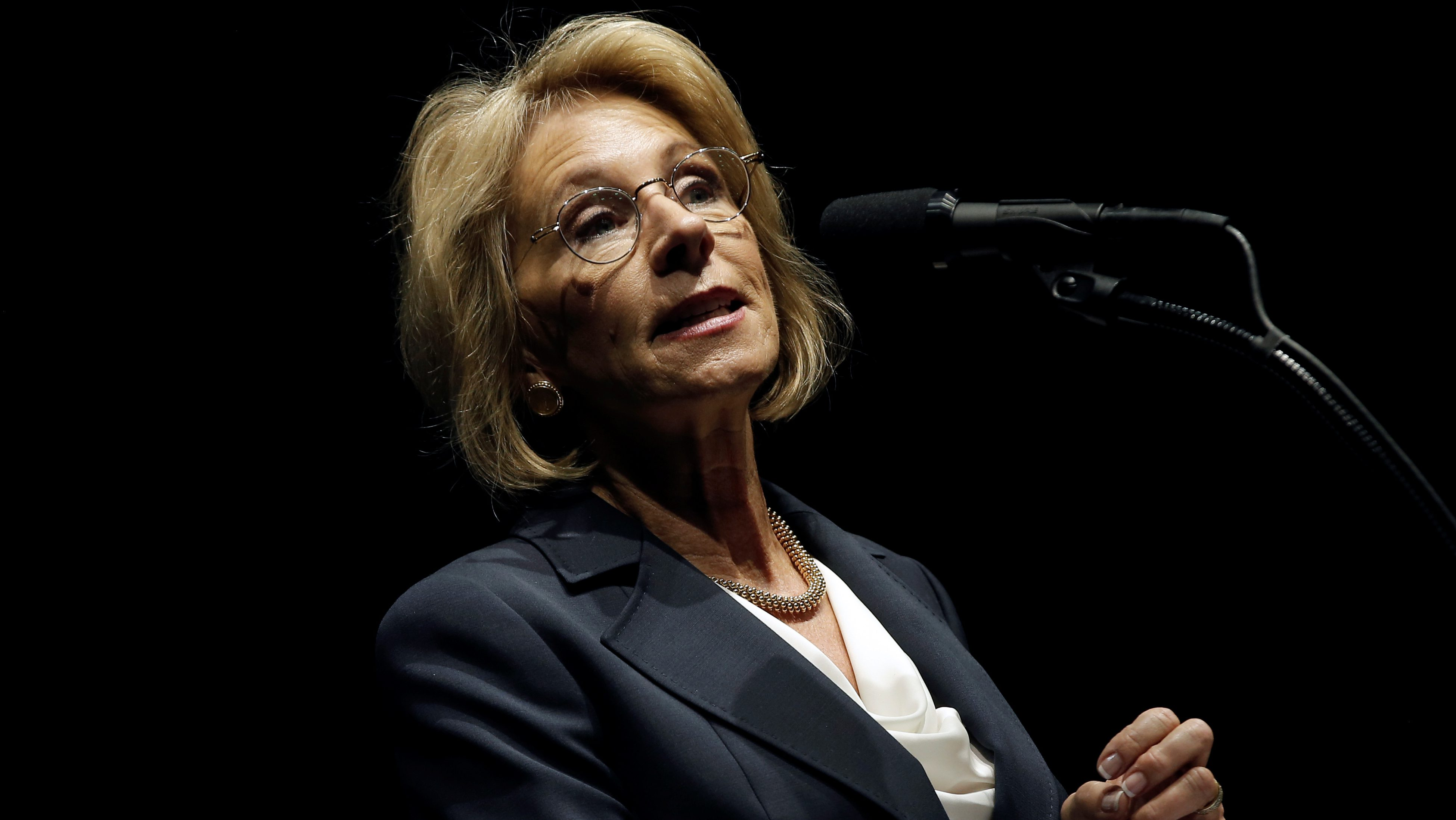 "U.S. President-elect Donald Trump's choice for U.S. Education Secretary Betsy DeVos speaks at a ""Thank You USA"" tour rally in Grand Rapids, Michigan, U.S. December 9, 2016.  REUTERS/Mike Segar - RTX2UD68"