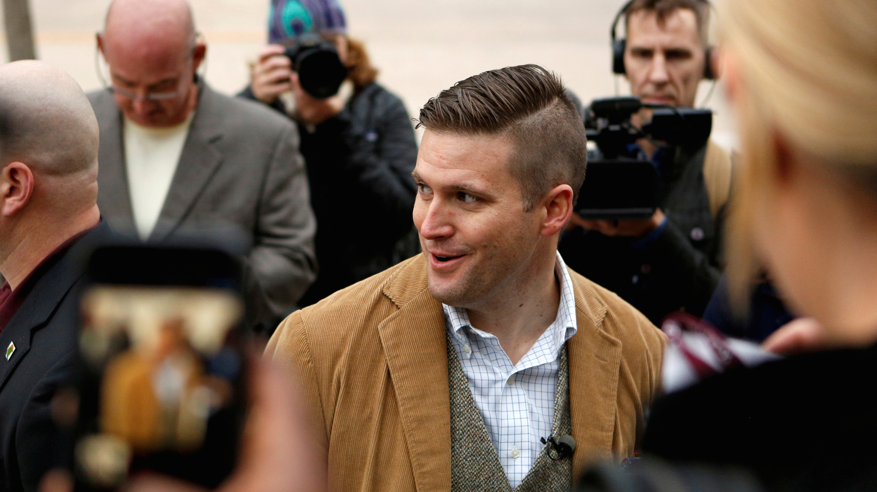 FILE PHOTO: Richard Spencer of the National Policy Institute arrives on campus to speak at an event not sanctioned by the school, at Texas A&M University in College Station, Texas,