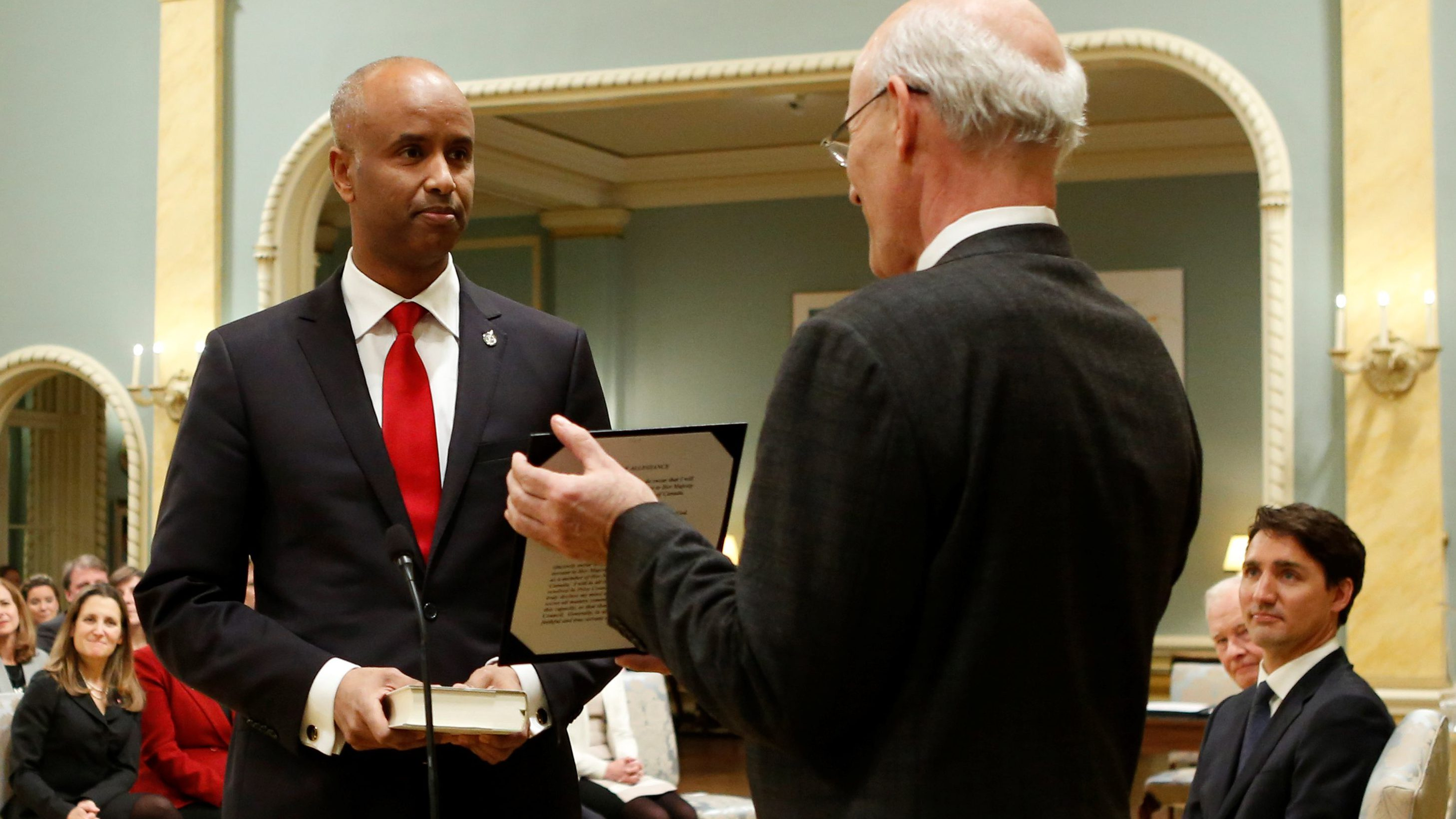 Ahmed Hussen is sworn-in as Canada's Minister of Immigration, Refugees and Citizenship during a cabinet shuffle at Rideau Hall in Ottawa, Ontario, Canada, January 10, 2017.