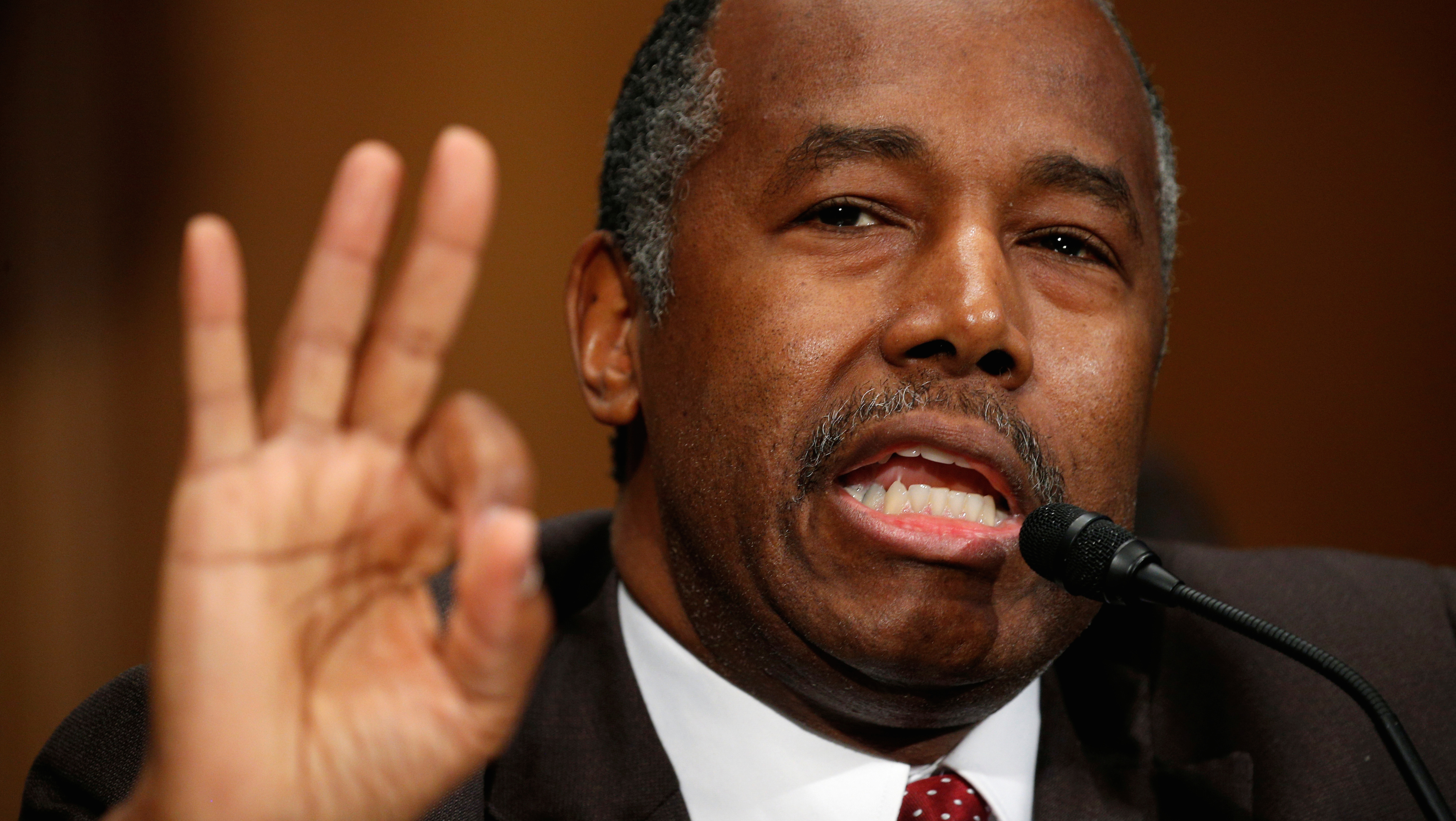 Dr. Ben Carson testifies before a Senate Banking, Housing and Urban Affairs Committee confirmation hearing on his nomination to be Secretary of the U.S. Department of Housing and Urban Development on Capitol Hill in Washington, U.S.  January 12, 2017.