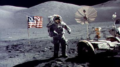 The photograph was taken by astronaut Harrison H. Schmitt, lunar module pilot. Cernan was the last human being to step on the moon as he was entered the Lunar Module after Schmitt for the return flight to earth.