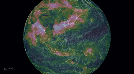 Pink and white indicates the area is currently covered in air particulars.