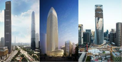 From left to right are skyscrapers completed in 2016 in Guangzhou (first two) and Ningbo.