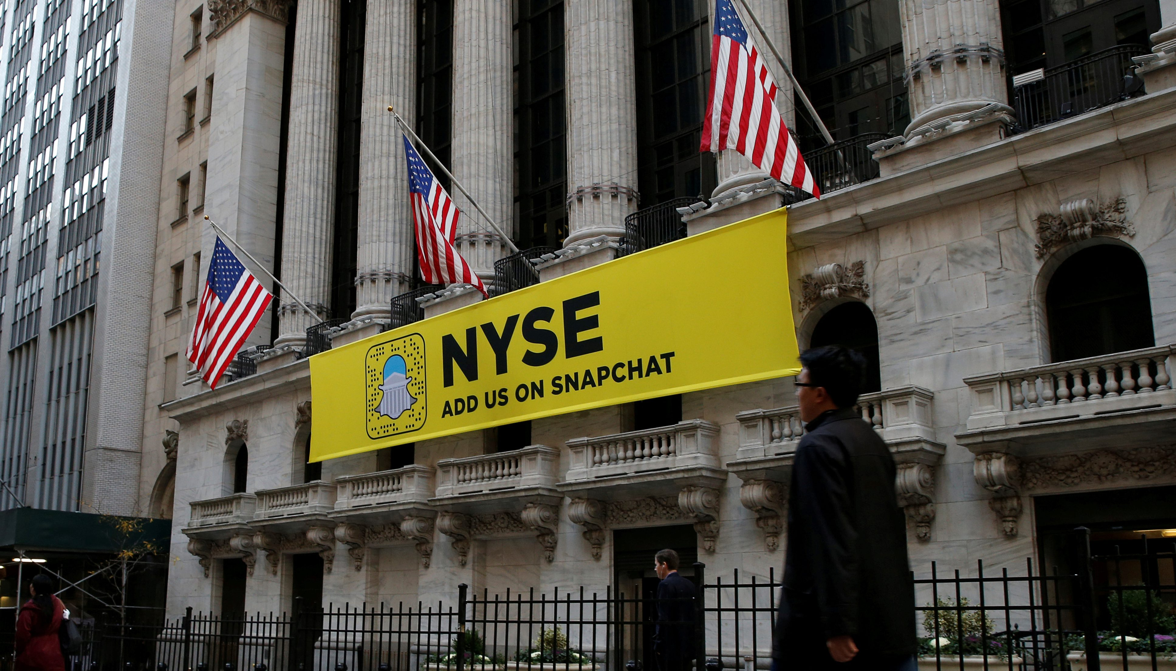 The Snapchat logo is seen on a banner outside the New York Stock Exchange (NYSE) in New York City, U.S., November 16, 2016.