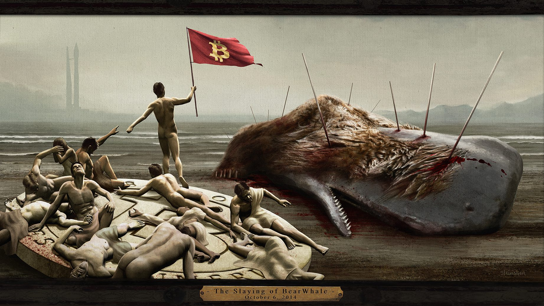Artist Christopher Steininger's commemoration of the BearWhale slaying.
