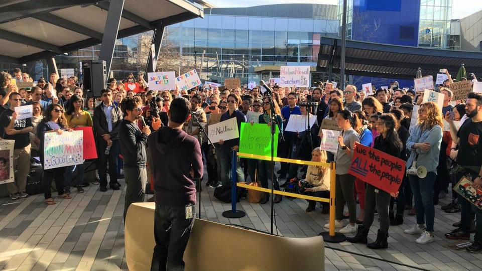 Google CEO Sundar Pichai addresses the crowd in Mountain View.