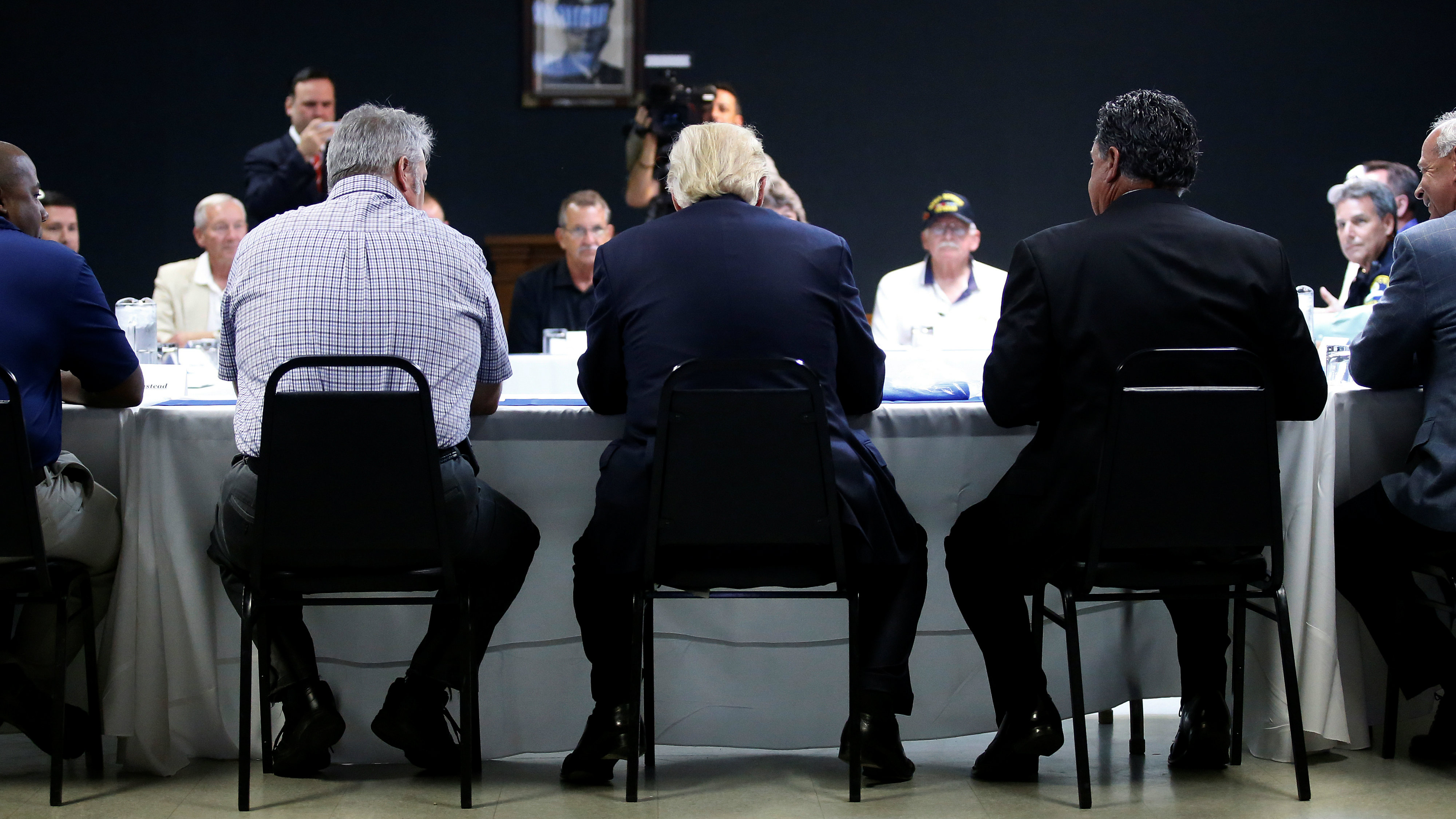 Republican Presidential Nominee Donald Trump C Speaks During A Round Table Discussion With Law