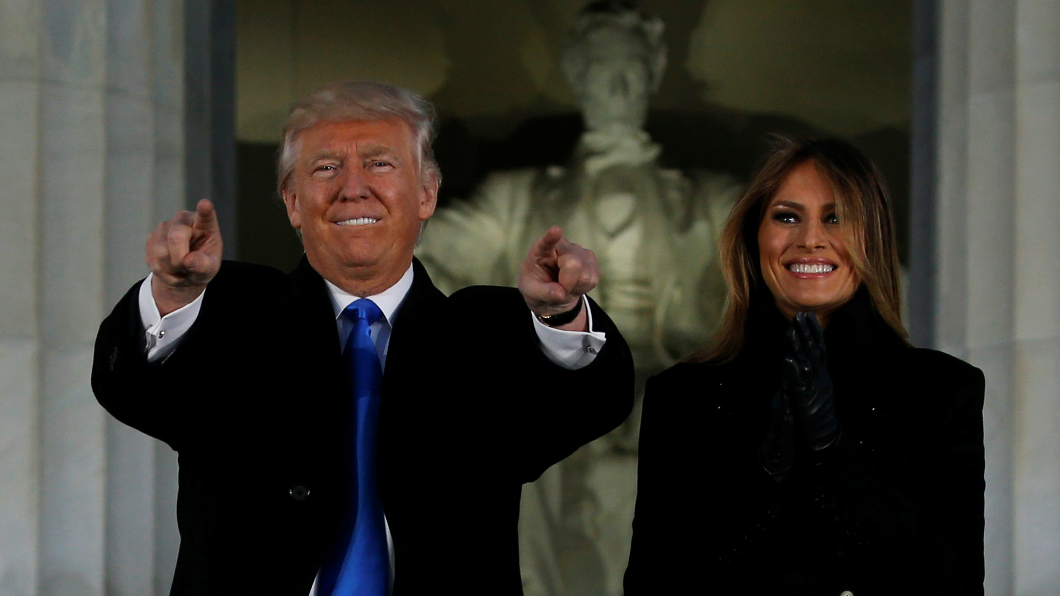Donald and Melania Trump at Lincoln memorial concert