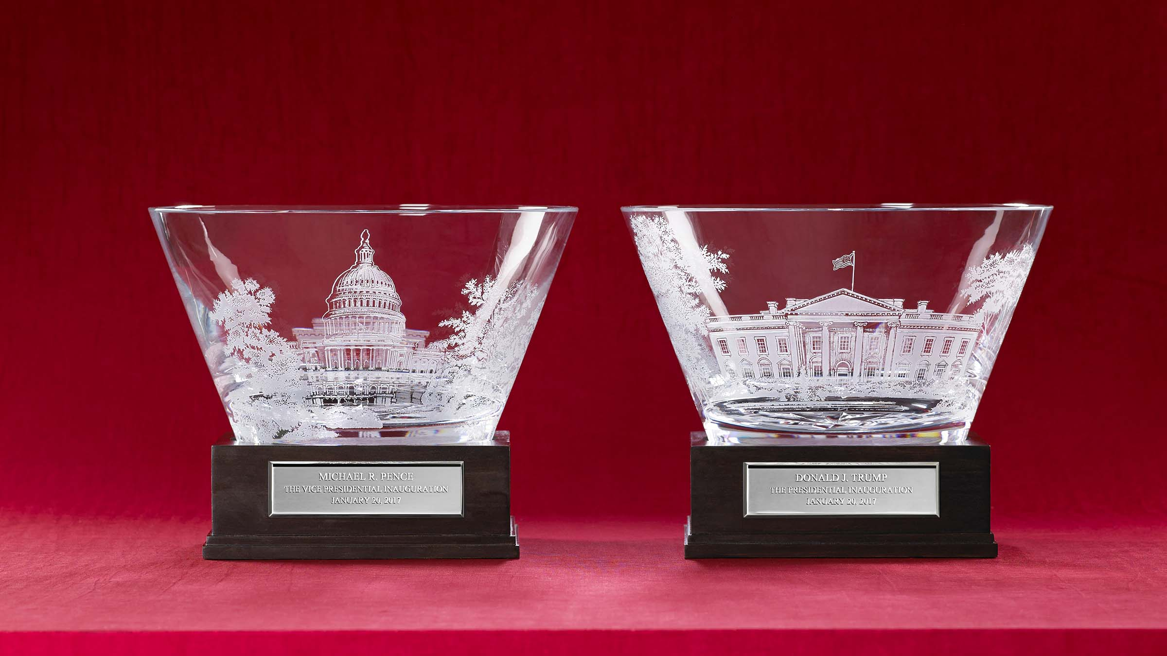 Trump and Pence's crystal bowls are the most elaborate inauguration gifts Lenox has made to date.