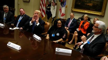 U.S. President Donald Trump meets with labor leaders