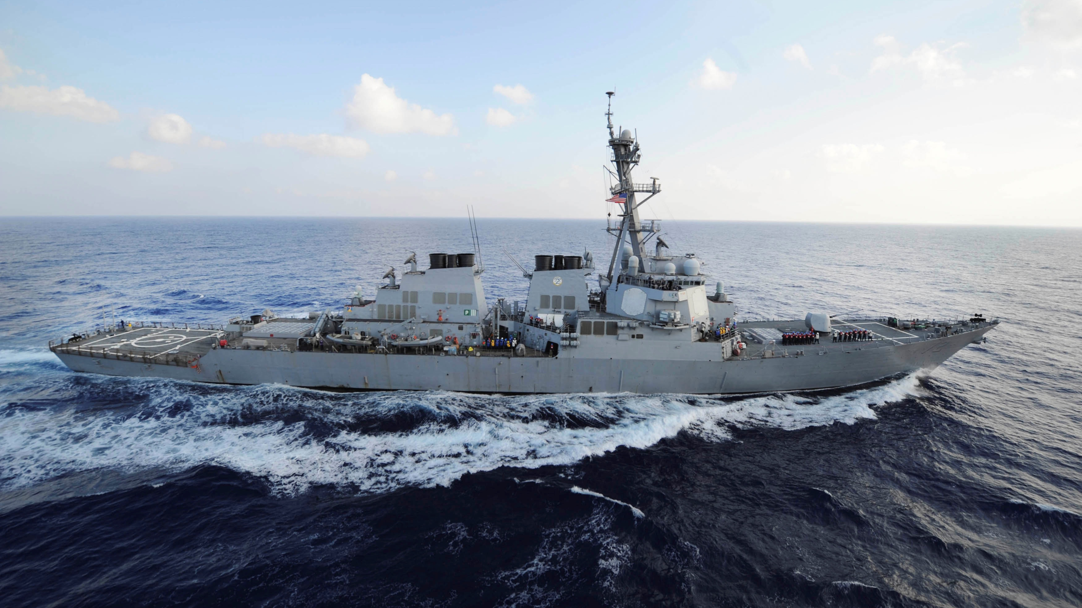 Guided-missile destroyer USS Mahan (DDG 72) transiting the Mediterranean Sea.