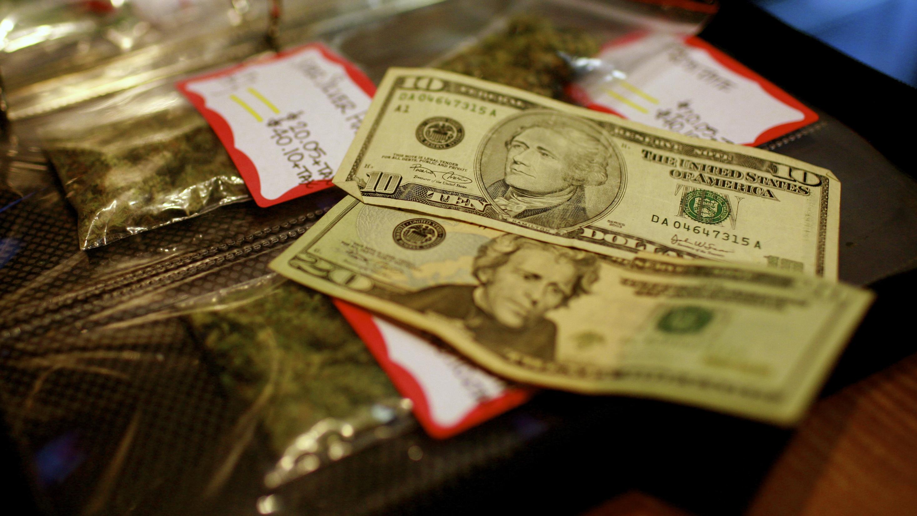 Medical marijuana and cash.